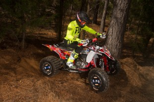 Brycen Neal aboard his YZF450R with Houser Racing A-Arms, Steering Stem, Bar Clamp, Nerf Bars, Grab Bar, and Linkage