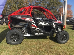 Polaris RZR Turbo with Houser Racing Roll Cage and Integrated Rear Bumper in Indy Red