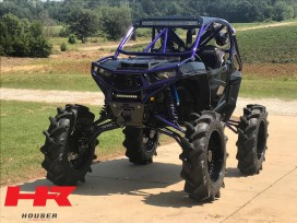 Polaris RZR with Houser Racing Roll Cage, Maximum Protection Front Bumper and Skid Plate