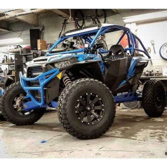 Polaris RZR Turbo with Houser Racing Roll Cage and Sport Front Bumper in Velocity Blue